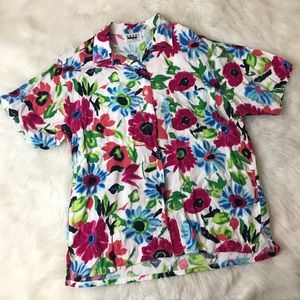 Vintage Floral Button Up Blouse Collared Shirt